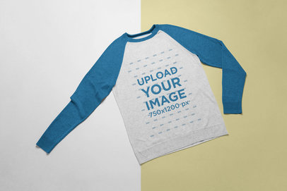 Mockup of a Crewneck Sweater Over a Surface with Two Colors 24236