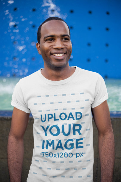 Tee Mockup of a Smiling Man with a Buzz Cut 24078