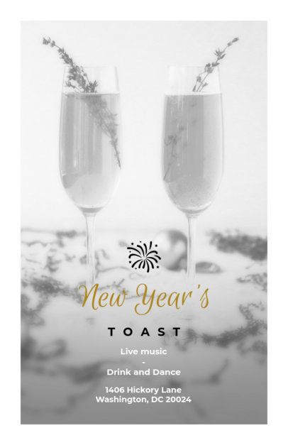 Holiday Flyer Template for a New Year's Toast 850c