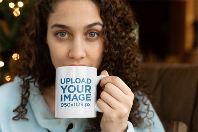 Coffee Mug Mockup with a Beautiful Young Woman Taking a Sip 23502