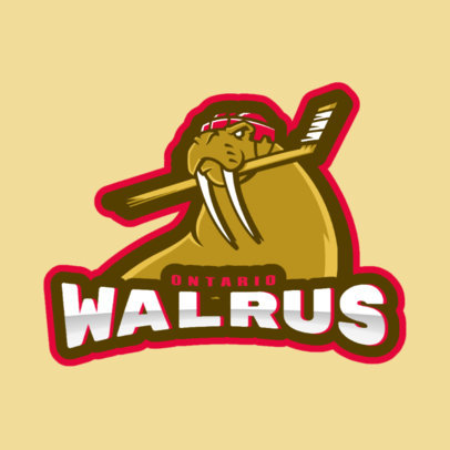 Hockey Logo Creator with a Hockey Walrus Mascot Illustration 1560b