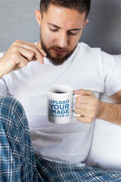Mug Mockup of a Man Having Tea 24016