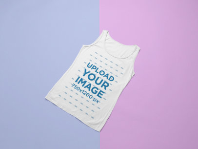 Mockup of a Plain Tank Top Over a Duo-Colored Background 24243