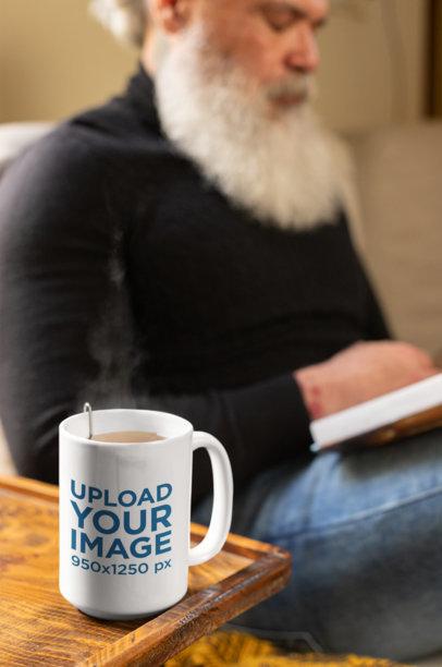 Mockup of a Coffee Mug on the Corner of a Table 23975