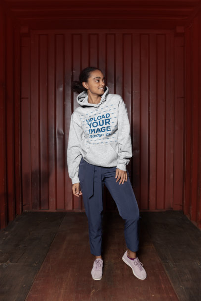 Heathered Pullover Hoodie Mockup Featuring an Urban Girl Posing 24301