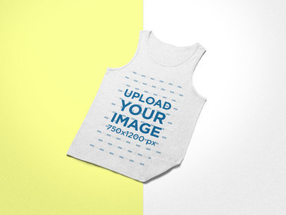 Mockup of a Tank Top Lying Over a Background with Two Colors 24224