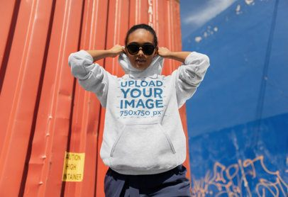 Heathered Pullover Hoodie Mockup Featuring a Trendy Girl with an Attitude 24302