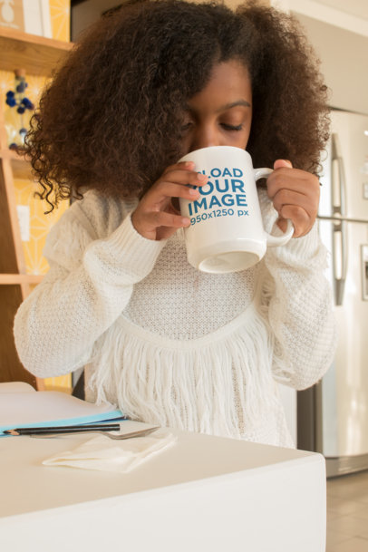 Mockup of a Little Girl Drinking from a Coffee Cup 24006
