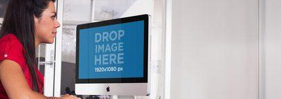 iMac Mockup Template at a Corporate Environment a5172