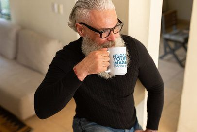 Mockup of an Older Man Drinking from His Coffee Mug 23993
