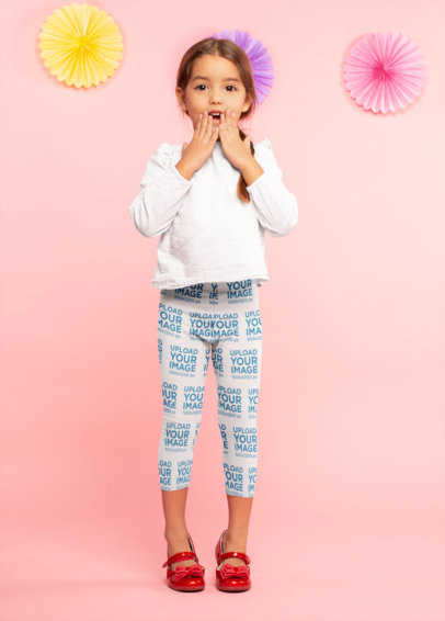 Leggings Mockup of a Surprised Little Girl 23913