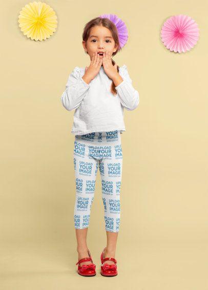 Leggings Mockup of a Surprised Little Girl 23913