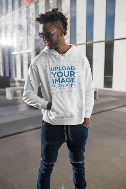 Hoodie Mockup of a Cool Young Man Out and About in a City 24318