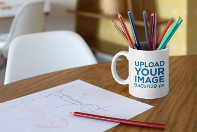 Mockup of a Coffee Mug Used as a Pencil Holder 24026
