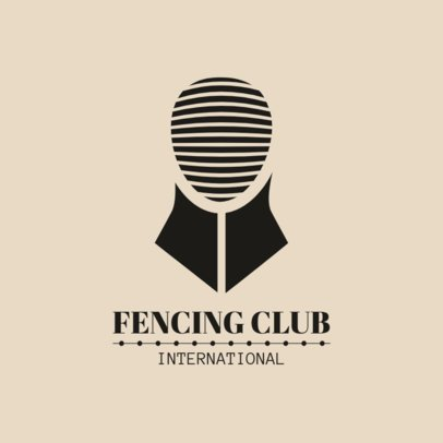 Fencing Logo Design Template with Fencing Mask Graphics 1610a