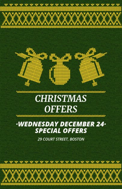 Cute Holiday Flyer Maker for Christmas Offers with Knit Graphics 864e