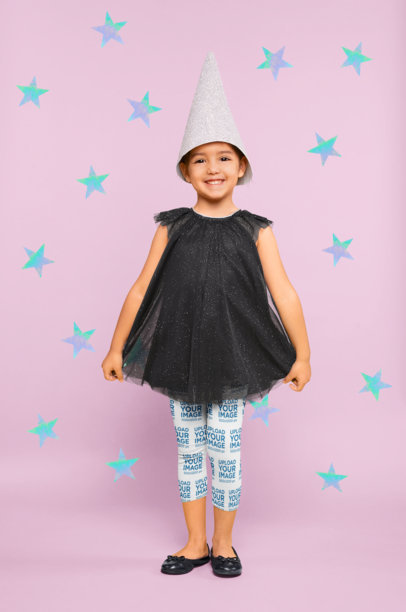 Leggings Mockup of a Little Girl Playing with a Wizard Hat 23919