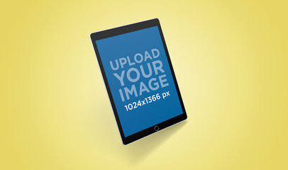 Rendered iPad Mockup Featuring a Solid Backdrop 24483