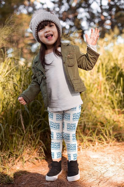 Leggings Mockup of a Pretty Little Girl in a Fall Outfit 23932