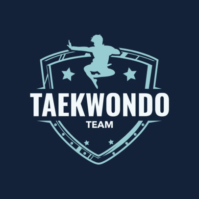 Martial Arts Logo Design Template for a Taekwondo Team 1607d