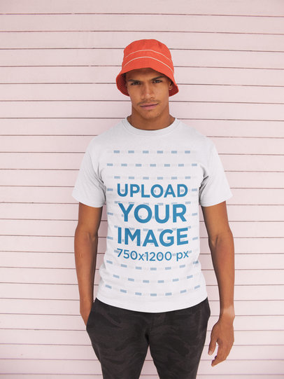 T-Shirt Mockup of a Man Wearing a Bucket Hat 21059