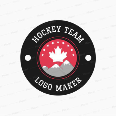 placeit hockey logo design template with maple leaf clipart