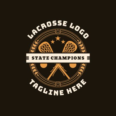 Lacrosse Logo Design Template with Two Lacrosse Sticks 1593c