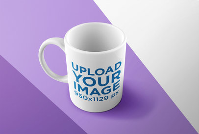 Coffee Mug Mockup Featuring a Surface with Three Colors 24492