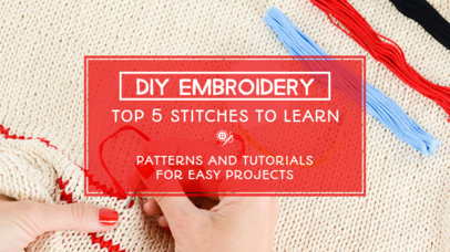 YouTube Thumbnail Template for an Embroidery Tutorial 889b