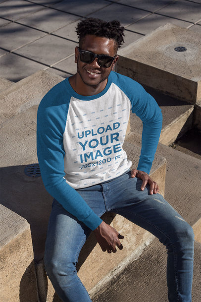 T-Shirt Mockup of a Cool Man with Sunglasses Wearing a Raglan Tee 24110