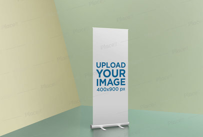 Roll-Up Banner Mockup Featuring a Tricolor Room 24512
