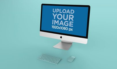 Angled Render Mockup of an iMac Standing on a Flat Surface 24781