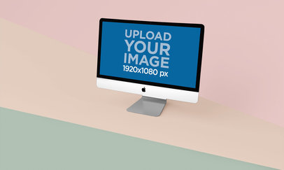 Mockup on an iMac on a Surface with Three Different Colors 24778