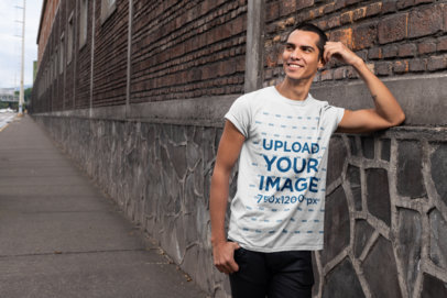 Mockup of a Handsome Man Wearing a Casual Tee 24526