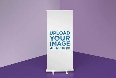 Simple Mockup of a Roll-Up Banner Against a Room Corner 24515