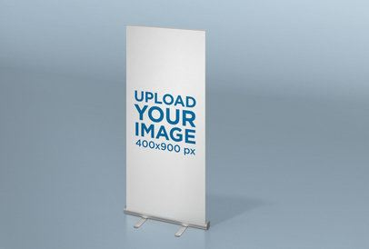 Roll-Up Banner Mockup Featuring a Space with a Solid Color 24517