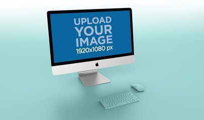 Mockup of an iMac Standing on a Bicolor Gradient Background 24783