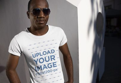 Mockup of a Cool Man Wearing a Tee and Sunglasses 24071
