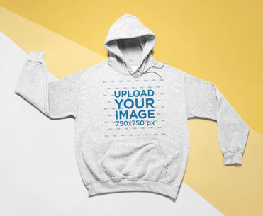 Heather Hoodie Mockup Featuring a Tricolor Surface 24570