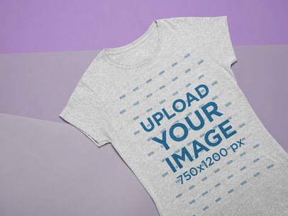 Flat Lay Mockup of a T-Shirt over a Tricolor Background 24554