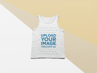 Studio Mockup of a Raglan Tank Top Lying on a Flat Surface 24584