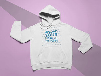 Flat Lay Mockup of a Pullover Hoodie Neatly Placed Over a Surface 24572