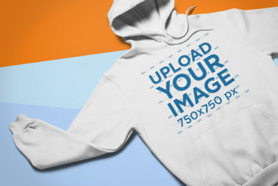 Flat Lay Mockup of a Hoodie on a Colorful Flat Background 24537