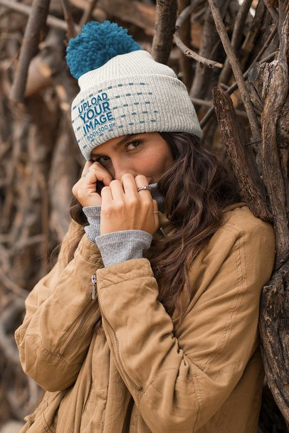 Beanie Mockup Featuring a Beautiful Girl 24600