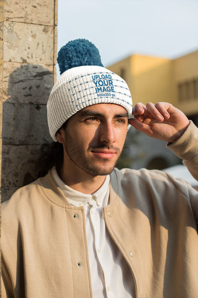 Mockup of a Man Wearing a Pom Pom Beanie with a Casual Outfit 24627