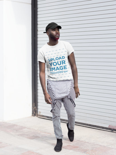 Tee Mockup of a Cool Man Wearing Striped Overalls 21676