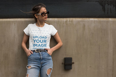 T-Shirt Mockup Featuring a Cool Young Woman Wearing High Rise Jeans 24640
