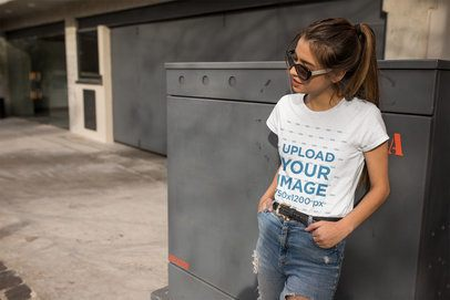 T-shirt Mockup of a Woman Wearing Sunglasses in the Street 24642