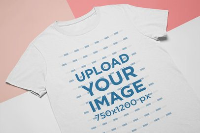 Flat Lay Tee Mockup Featuring a Custom Background with Three Colors 24745
