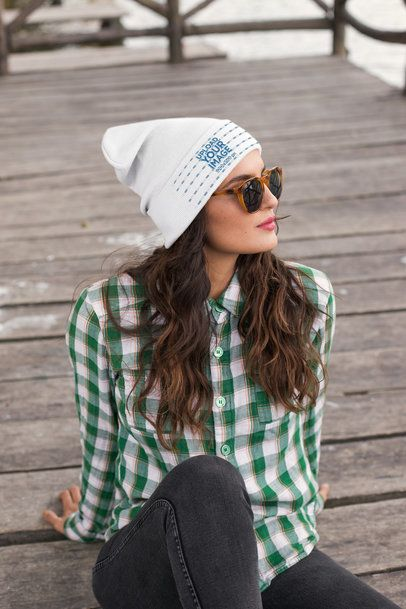 Beanie Mockup of a Woman Wearing a Green Plaid Shirt 24625
